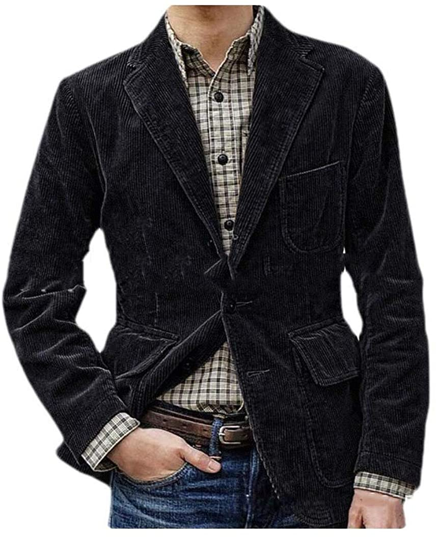 Abetteric Men Corduroy Vintage Relaxed-Fit Single Breasted Lapel Blazer Outwear