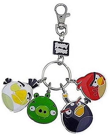 Angry Birds Metal Keychain Style 2 White Bird, Pig, Black Bird Red Bird