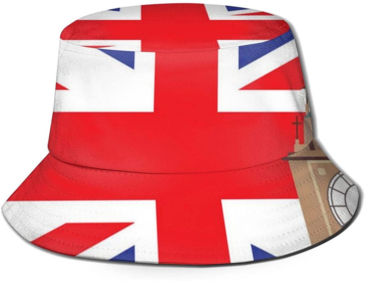 Big Ben with United Kingdom Flag Unisex Outdoor Sun Fisherman Bucket Caps Beach Hats