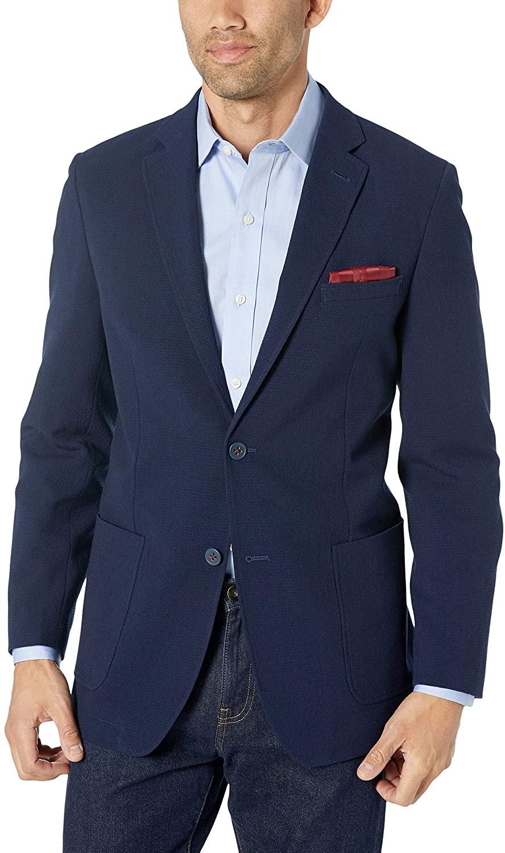 Ben Sherman Men's Solid Navy Seersucker Sport Coat