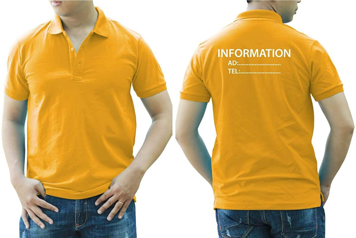 Add Your Logo Text Design Image Picture. Custom Polo. Personalized Polo. Embroidered On Polo & T-Shirt Uniform with Multi Sides. International Pack of 10 Dark Yellow