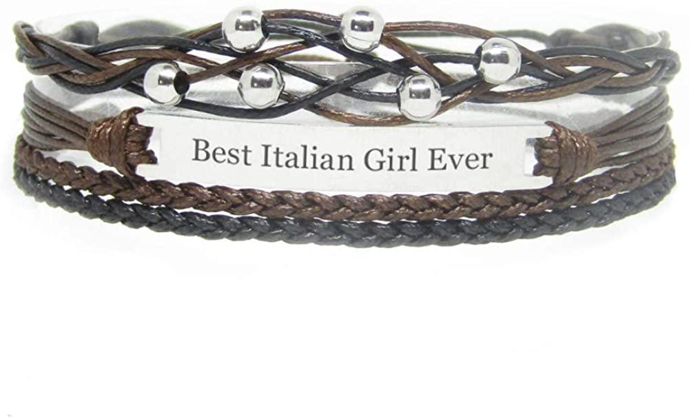 Miiras Nationality Engraved Handmade Bracelet for Women - Best Italian Girl Ever - Black - Made of Braided Rope and Stainless Steel - Gift for Italian Girl