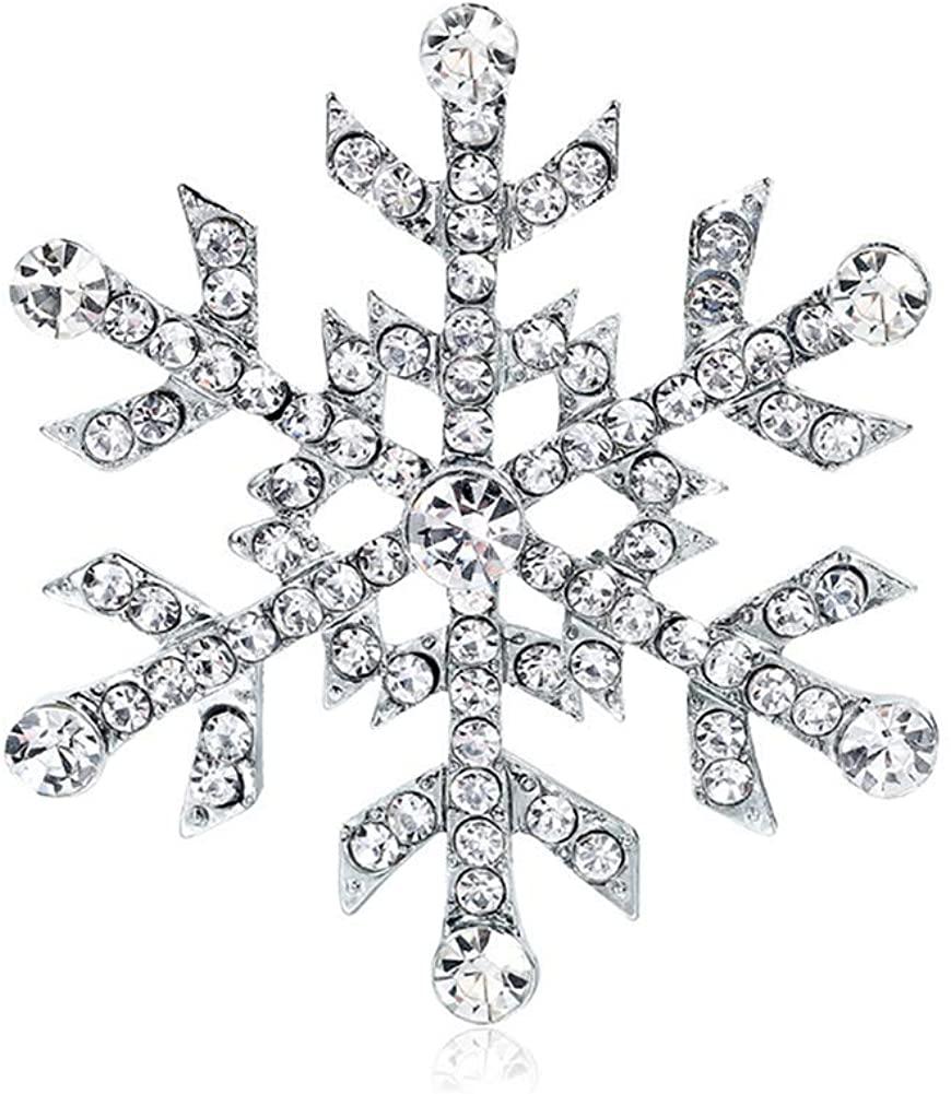 Christmas 4.7CM Snowflake Lapel Pin Clear Rhinestone Crystal Brooch Pin for Women Girls Xmas