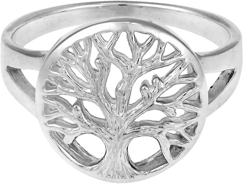 AeraVida Tranquil Tree of Life Emblem .925 Sterling Silver Ring