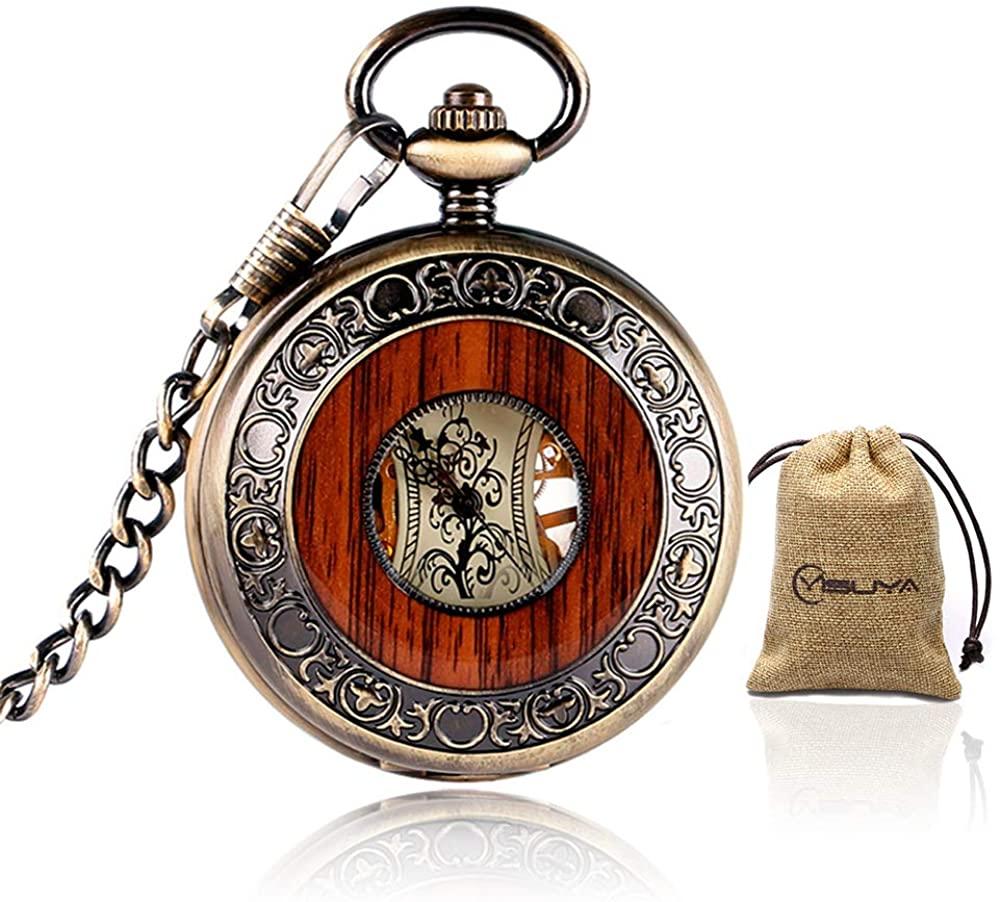 Vintage Bronze Wooden Mechanical Pocket Watch Roman Numerals Creative Carving Flower Dial Luxury Pendant (Bronze)