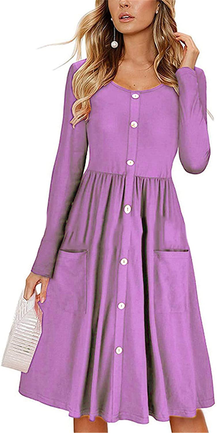 Soluo Women's Long Sleeve V Neck Button Down Skater Dress Swing Casual Flare Midi Dresses T Shirt with Pockets
