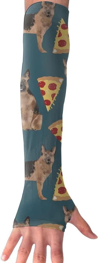 Huadduo German Shepherd Pizza UV Sun Protection Sleeves,Cooling Arm Sleeves For Men & Women Long Arm Sleeve Glove Fit Running,Golf,Cycling, Biking,Driving,Fishing