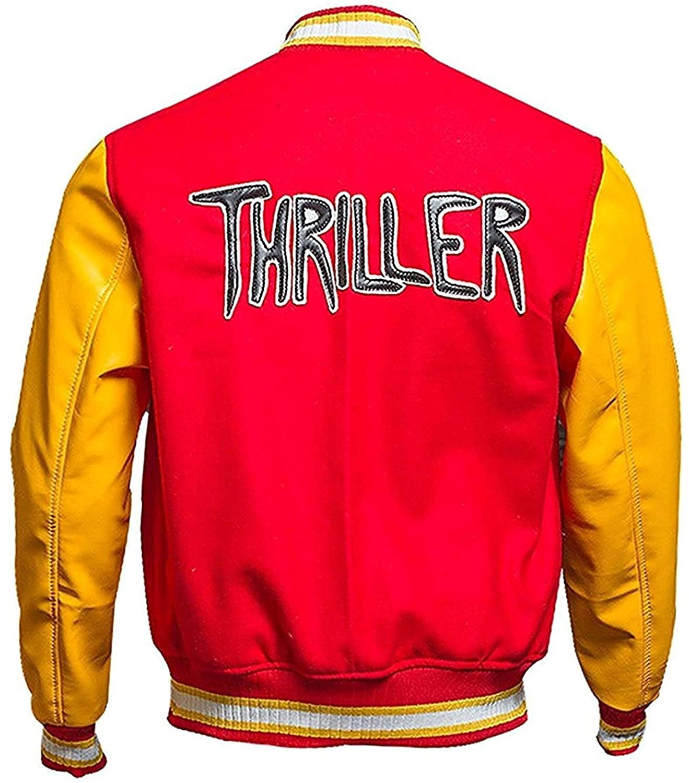 Mens MJ Thriller Red M Logo Varsity Letterman Bomber Jacket