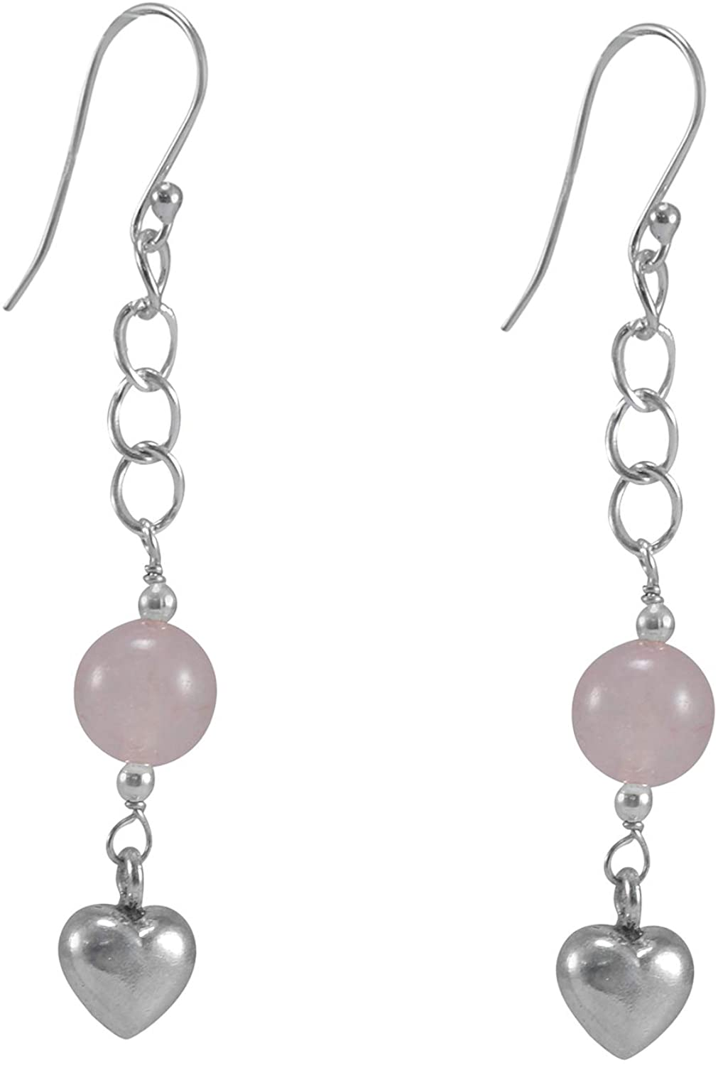Silvesto India Rose Quartz Gemstone 925 Sterling silver Earring