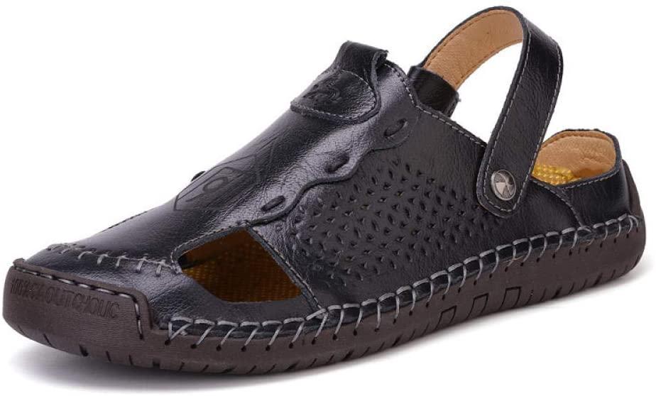 Plus Size Sandals Men's Summer New Beach Shoes Sandals Men's Hand-Sewn Men's shoes-878 Black_40