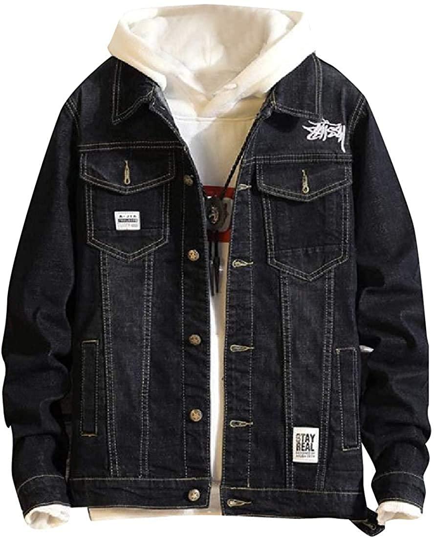 Men Baggy Regular Premium Button Applique Fit Down Denim Jacket