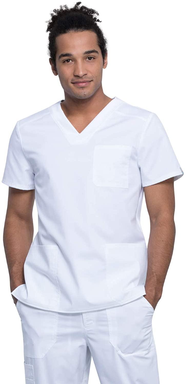 Cherokee Workwear Revolution Tech Men's V-Neck Scrub Top, L, White