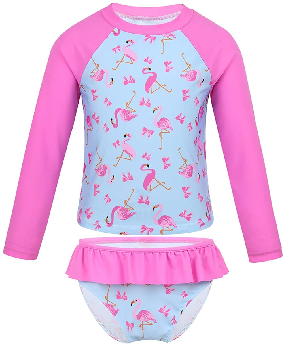 ACSUSS Kids Toddler Girls Two Pieces Rash Guard Set Swimsuit Long Sleeve Print Tops and Ruffles Bottoms Swimwear