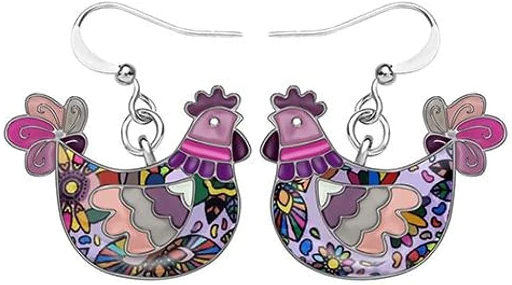 Alloy Enamel Novelty Hen Chicken Earrings Dangle Stud Fashion Animal Pet Jewelry