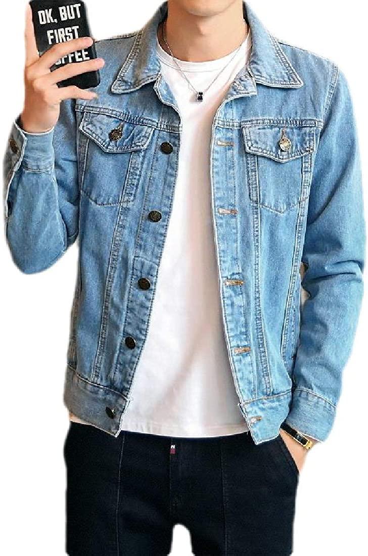Mens Windbreaker Stylish Pockets Button Up Slim Fit Slim Jeans Jacket,Light Blue,Large