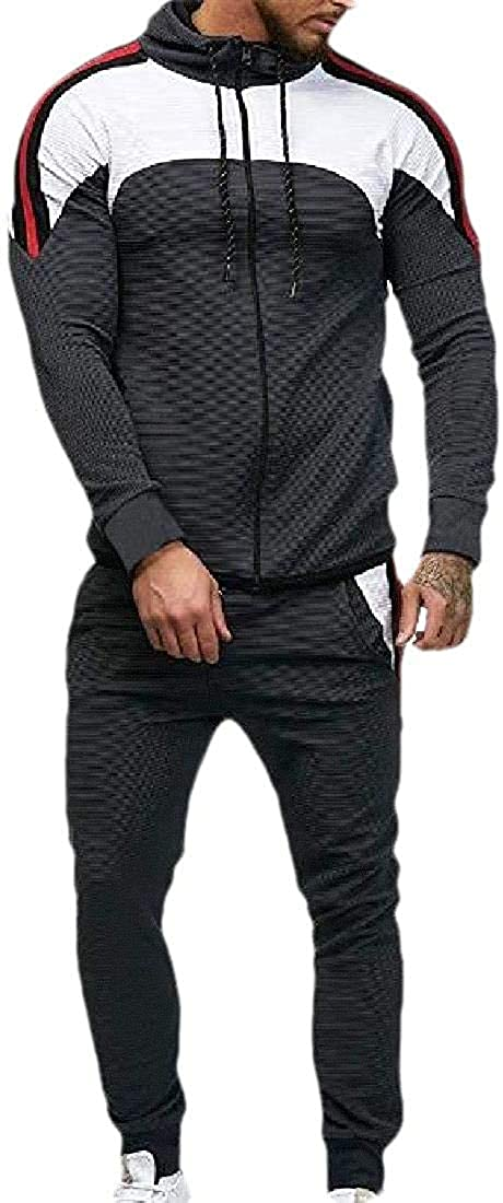 Men Active Relaxed-Fit 2 Piece Set Contrast Hooded Tracksuit Jog Set