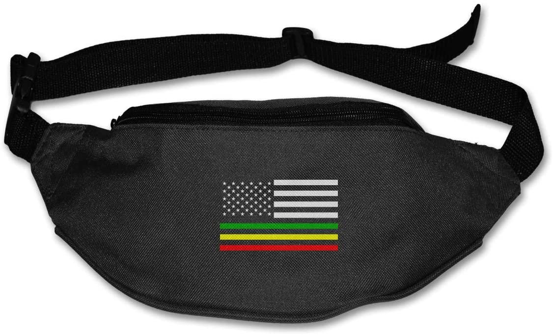 SWEET-YZ Unisex Waist Pack Rasta American Flag Flat Fanny Bag Pack for Sport Running