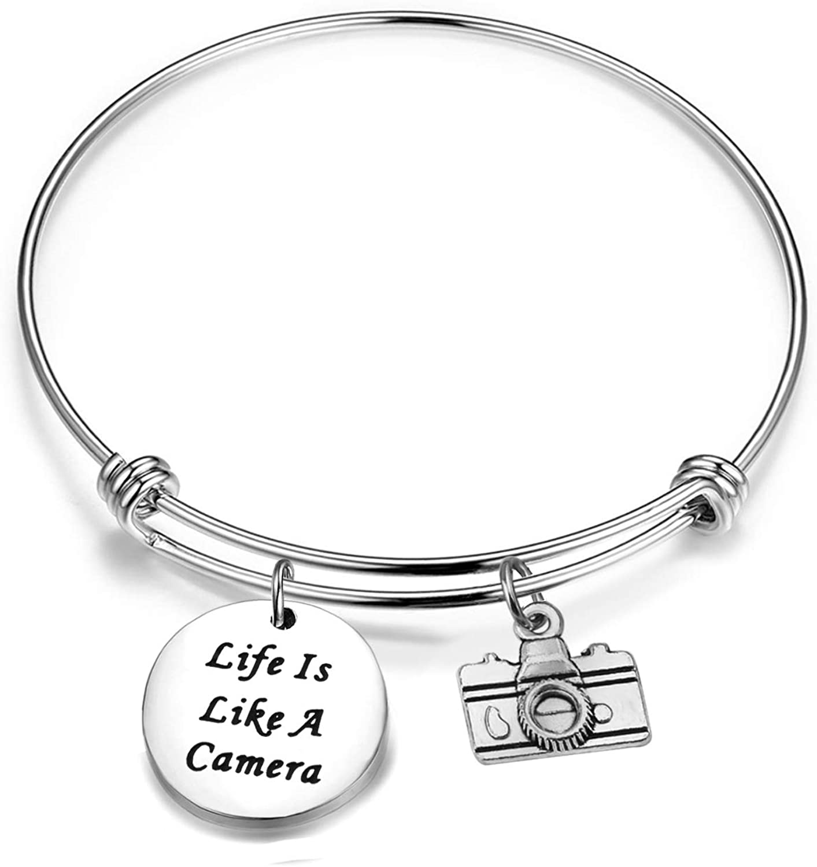 ENSIANTH Photographer Bracelet Photography Gift Camera Jewelry Life is Like A Camera Bracelet Inspirational Jewelry