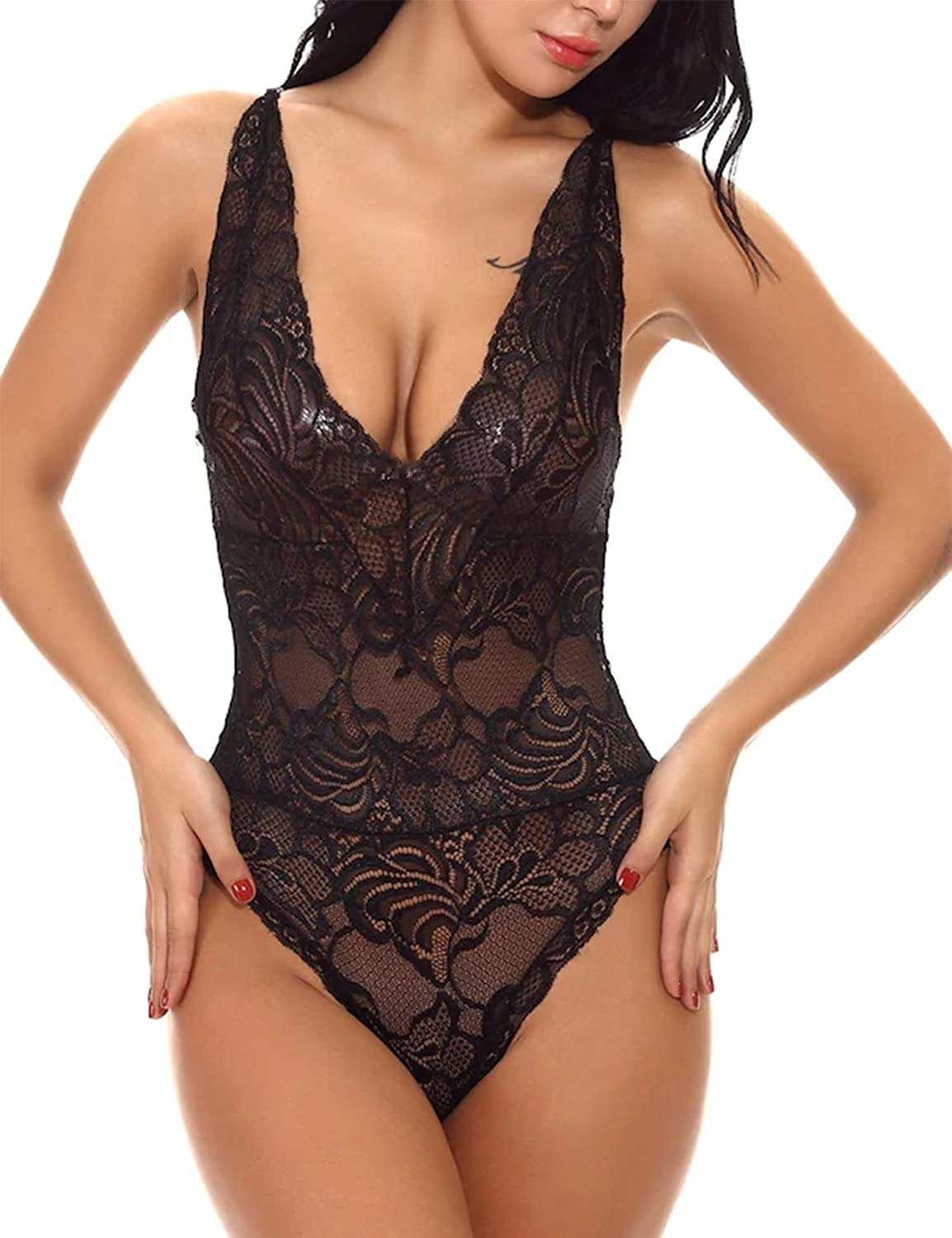 wearella Women Deep V Lingerie One Piece Babydoll Open Back Halter Mini Bodysuit