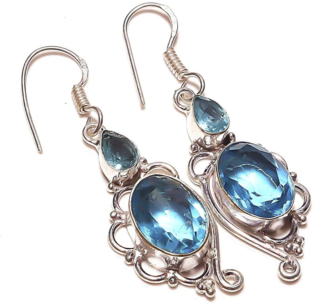 Outstanding! Blue Topaz Quartz HANDMADE Jewelry Sterlng Silver Plated Earring 2.25