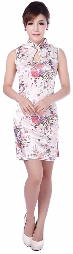 Shanghai Story Floral Print Chinese Dress Women's Short Cheongsam Qipao 4 Color