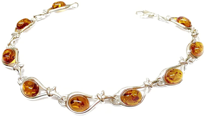 Creazioni Oro 925/1000 Silver Bracelet with Cognac Natural Baltic Amber W0159