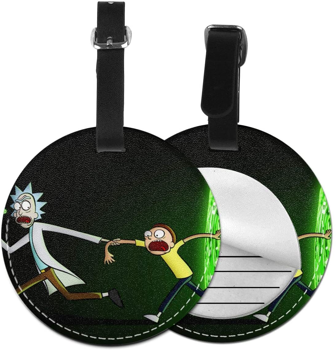 N/C Rick N Morty Plot Artificial Leather Round Luggage Tag