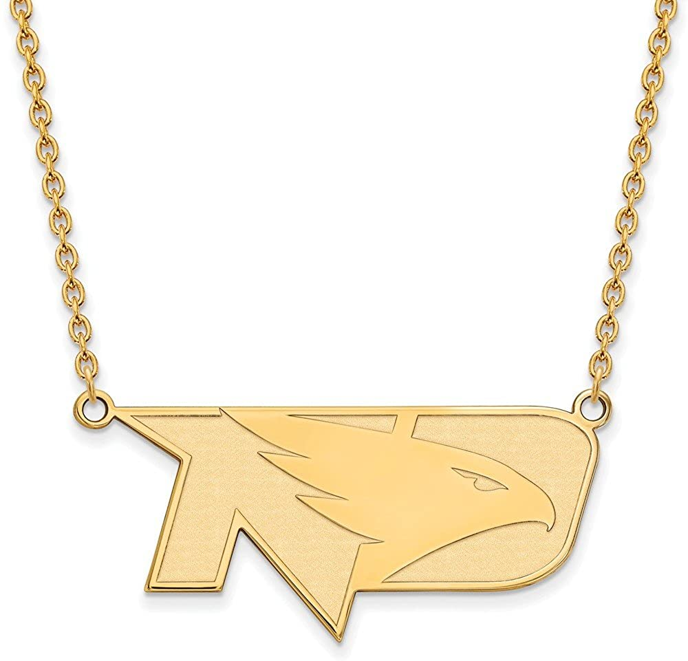 Solid 10k Yellow Gold Official University of North Dakota Large Pendant Necklace Charm Chain - with Secure Lobster Lock Clasp (Width = 18mm)
