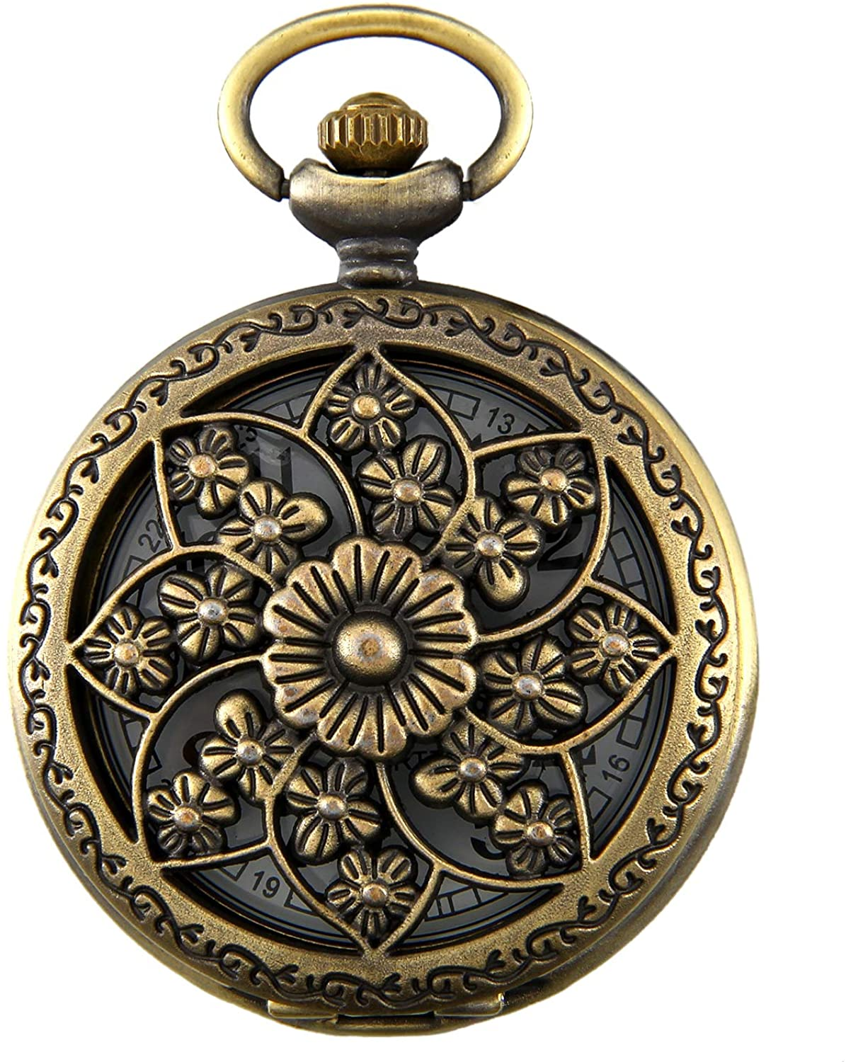 JewelryWe Retro Design Bronze Butterfly Flower Openwork Cover Pocket Quartz Watch with 31.5 Inch Chain for Fathers Day