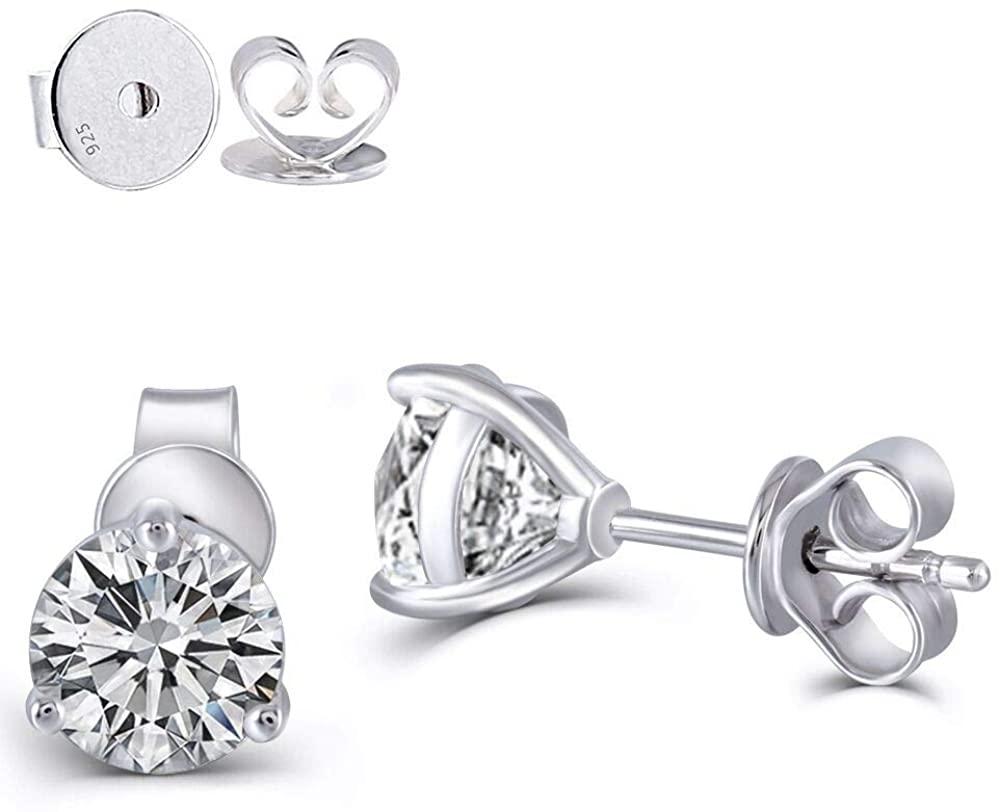 DovEggs 14K White Gold Post 1.6ct 6mm G-H-I Color Heart Arrows Cut Moissanite Martini Stud Earring Platinum Plated Silver Push Back for Women