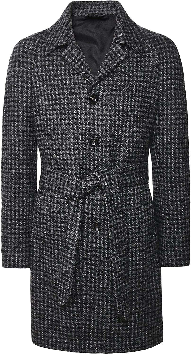 Luigi Bianchi Men's Mohair Blend Houndstooth Coat Gray