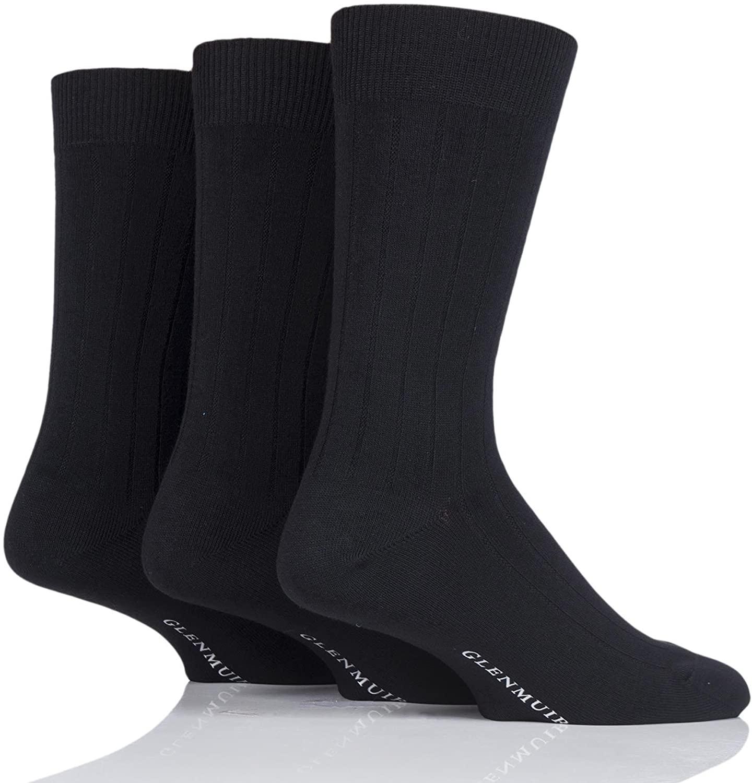 Glenmuir Men's 3 Pair Classic Bamboo Ribbed Socks