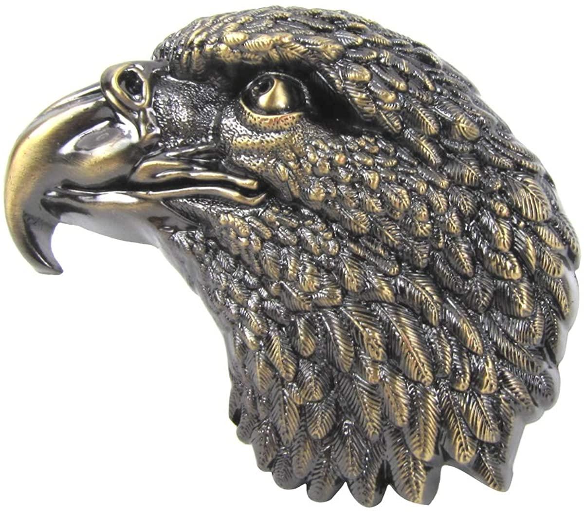 Treasure Gurus Brushed Gold Bald Eagle Head Metal Belt Buckle Clothing Accessory US Fashion Gift
