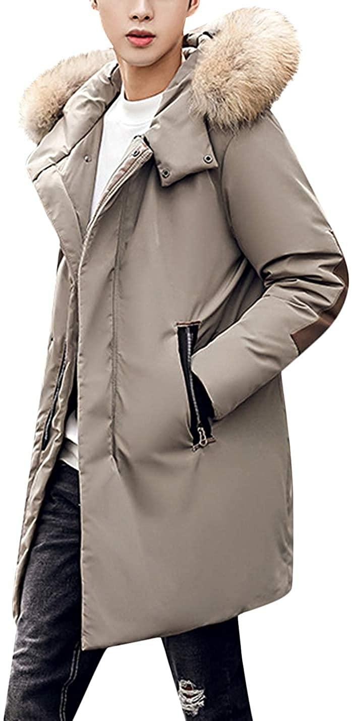 Xudcufyhu Mens Winter Waterproof Fur Hooded Long Down Jacket Parka Coat