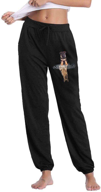 Awqule German Shepherd Heartbeat Love Ladies Sweatpants Drawstring Waist Jogging Pants with Pockets