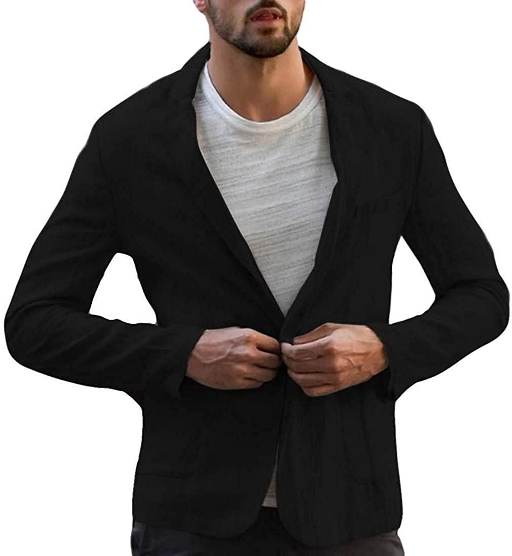Men Cotton Linen Casual Outwear One Button Blazer Jacket Coat