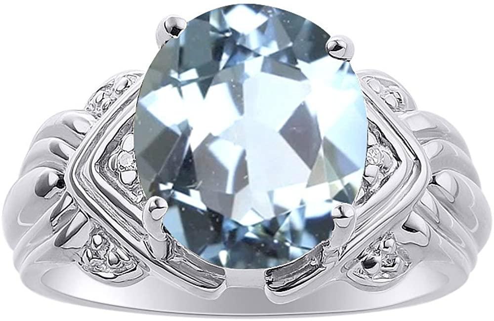 Diamond & Aquamarine Ring Set In 14K White Gold - 12 X 10MM Color Stone Birthstone Ring