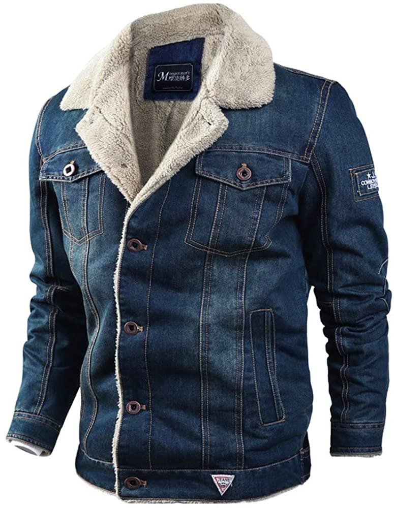 frdmbeauty Winter Coat Fuzzy Lining Loose Lapel Plus Size Denim Jacket Men's Outwear Thicker with Pockets (Dark-Blue,6XL)