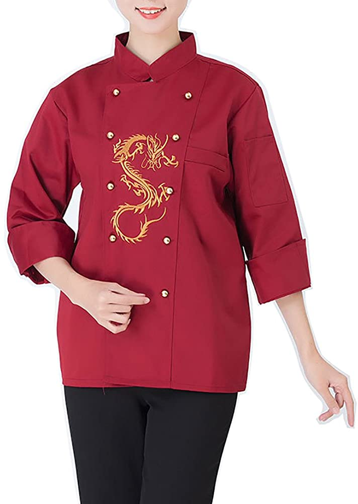 QZUnique Unisex Embroidery Dragon Chef Jackets Stand Up Collar Chef Coats Long/Short Sleeves XL