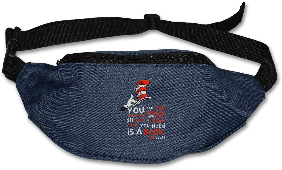 Hwxzviodfjg All You Need is A Book Dr.Seuss Adjustable Running Belt Waist Pack Belt Fanny Pack Navy