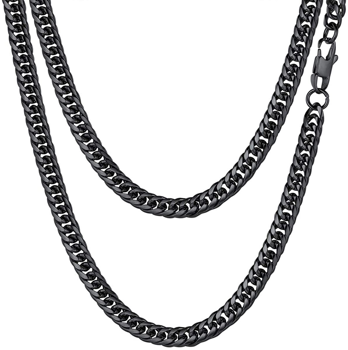 FOCALOOK 6MM Stainless Steel Cuban Link Chain Necklace for Women Men, 22/26/28/30 Inches, 18K Gold Plated/Black Gun Plated, Customized Name Necklace(with Gift Box)