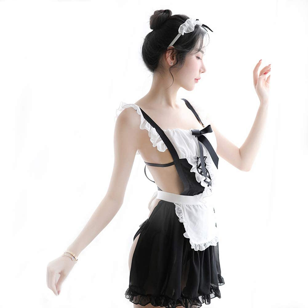 HPZSX Women's Sexy Girl Cosplay French Maid Costume Lingerie Set