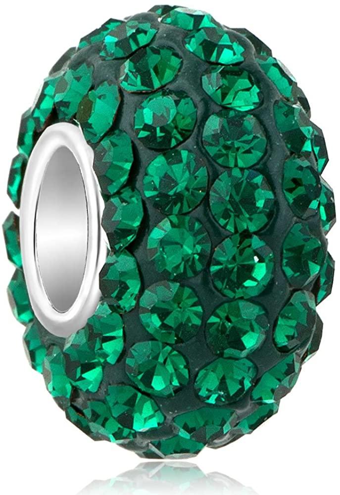 ReisJewelry Birthday Charms Colorful Rhinestone Charm Spacer Beads for Bracelets