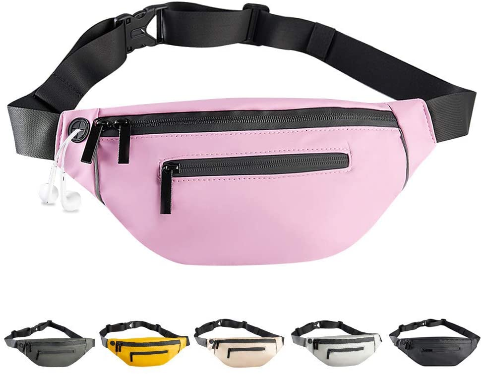 Enicuter Fanny Pack for Women Men Fashionable PU Waterproof Waist Bag with Adjustable Belt Headphone Jack Double Zipper Design for Running Hiking Traveling Walking