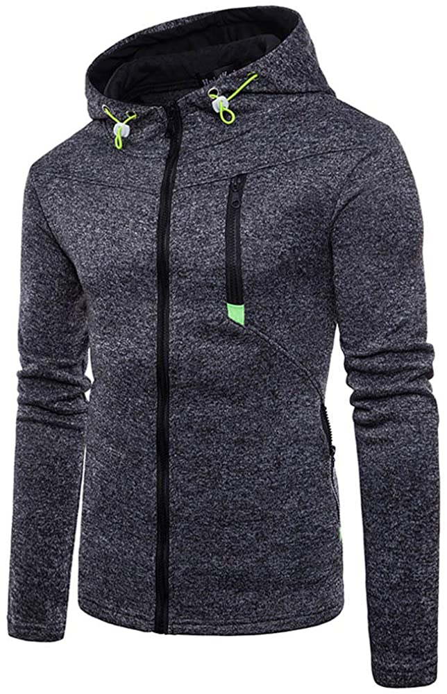 MODOQO Men's Long Sleeve Zipper Hoodies Sport Sweatshirt Solid Coat Outwear