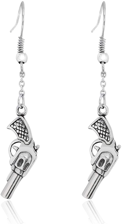 Namaste Jewelers Gun Revolver Dangle Hook Earrings Pewter Jewelry