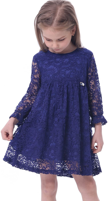 Bonny Billy Girls A-Line Long Sleeve Blue Lace Kid Dress