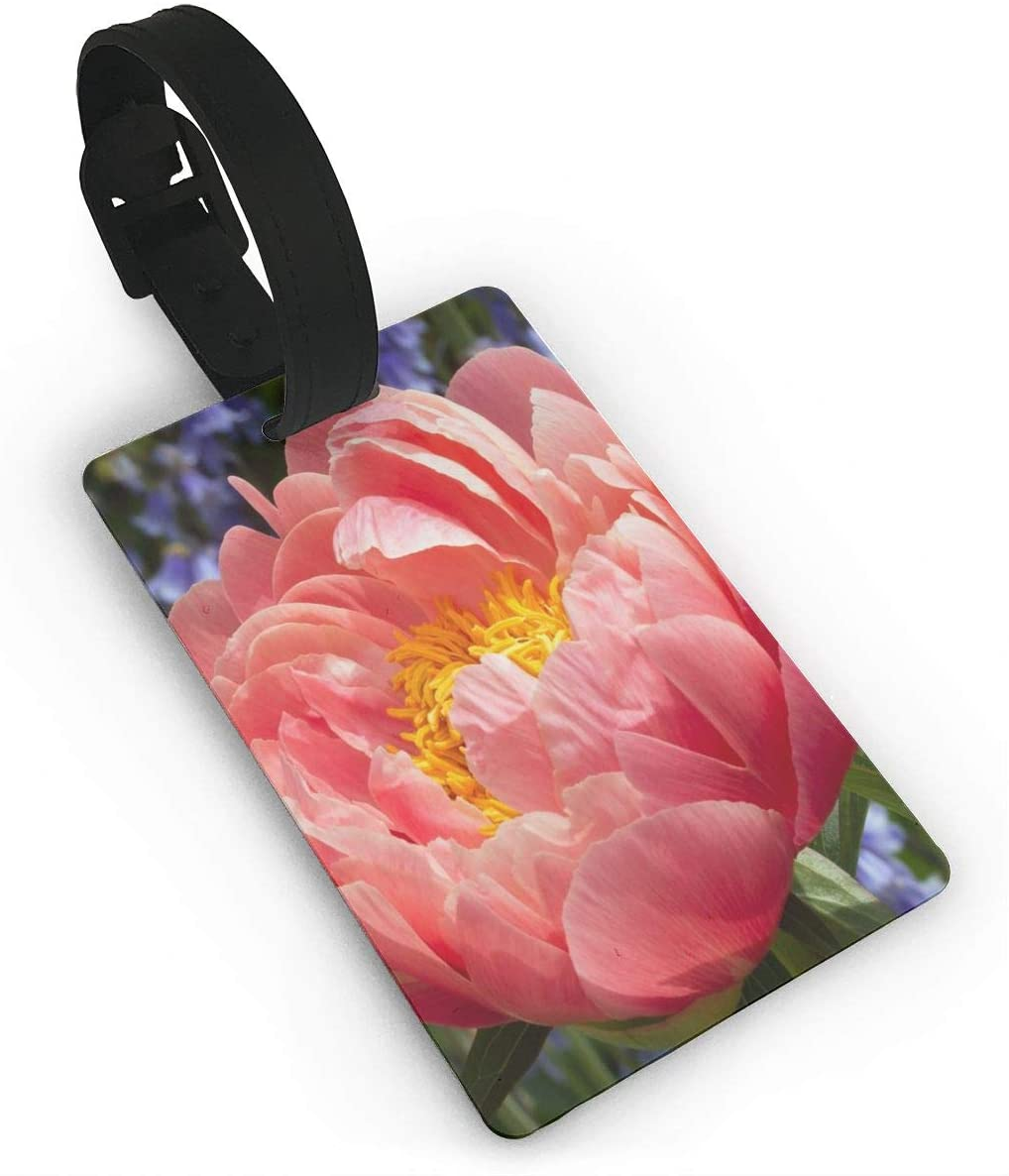 Luggage Tag Travel Suitcase Bag Baggage Tags PU Leather, Large Pink Peony Vector