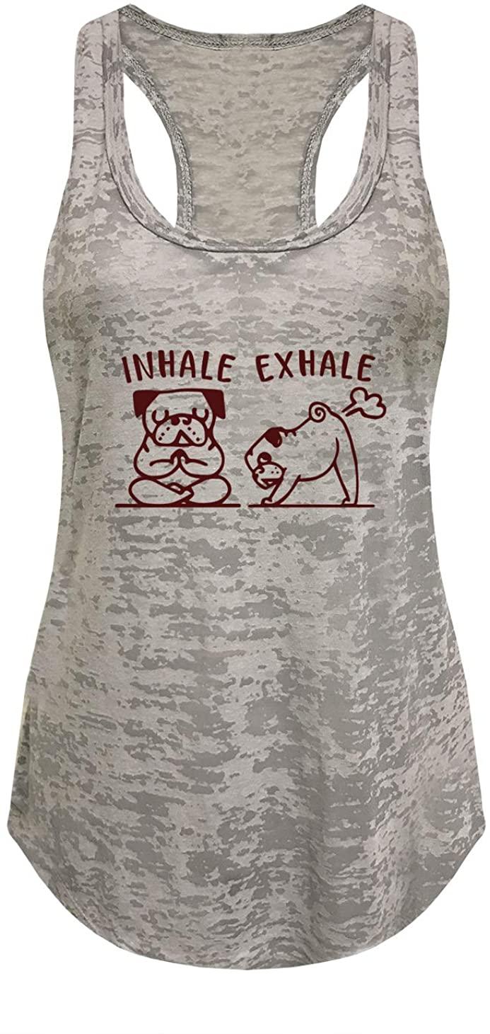 Tough Cookie's Women's Yoga Burnout Tank Top 2 Dogs Inhale Exhale Print