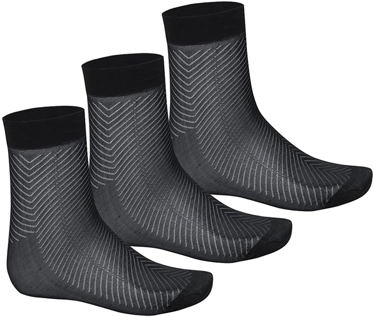 ACSUSS Men's Casual Thin Breathable Pure Soft Silk Mid-Calf Crew Socks (3 Pack)